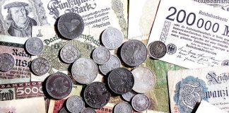 stare monety i banknoty, marki, fenigi, stare niemieckie pieniądze