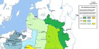 Mapa podziału Polski pomiędzy trzech zaborców