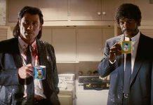 John Travolta, Samuel Leroy Jackson w scenie z filmu Pulp Fiction