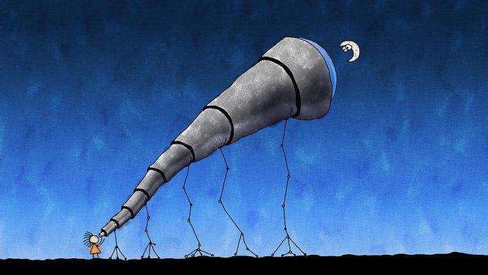Astronom obserwujacy Księżyc, zabawny obrazek