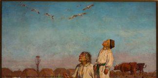 Oraz olejny autorstwa Józefa Chełmońskiego pt. Bociany, przedstawiający chłopca ze starszym męzczyzną przyglądającym się przelatującym ptakom przygladają się