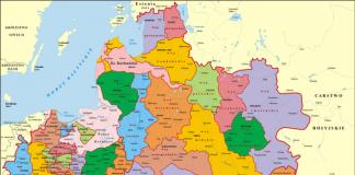 Mapa podziału administracyjnego I Rzeczypospolitej 1619 r.