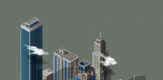Grafika przedstawiajaca centrum miasta z wieżowcami, makieta miasta-Quiz o miastach Polski