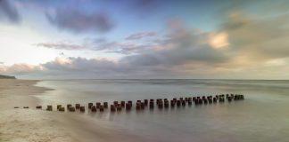 drewniane słupki na plaży, palisada na plaży, falochron, quiz o Bałtyku