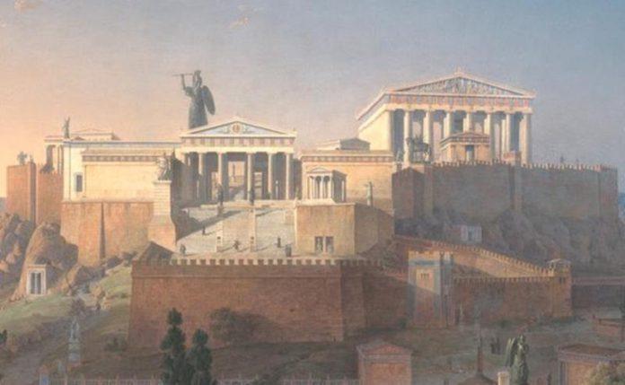Atena Promachos na Akropolu dłuta Fidiasza obraz Leo von Klenze-quiz o mitach greckich