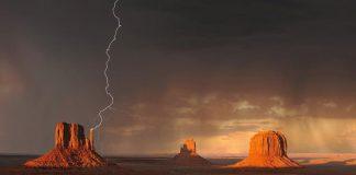 Monument Valley Dolina Pomników, USA, piorun uderzający w skały, najnowszy quiz tematyczny