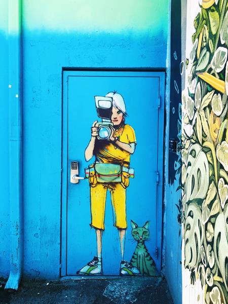 Mural na drzwiach, fotograf z kotem. quizydlawiedzy.pl