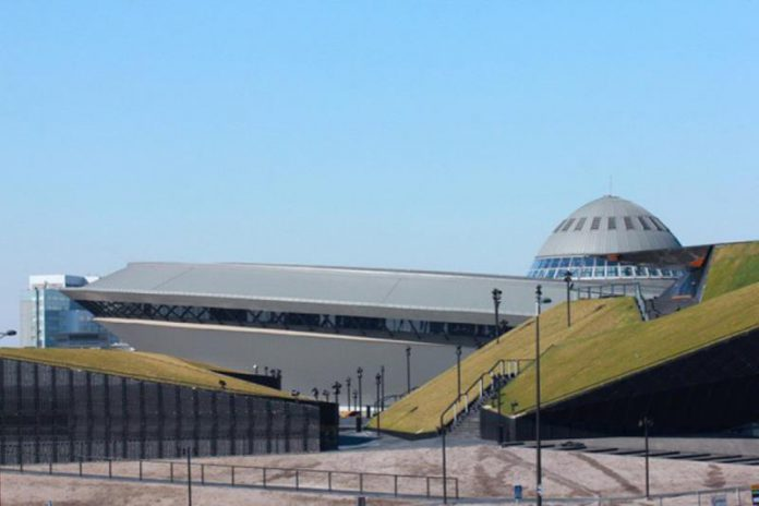 Spodek Katowice, widok od strony Międzynarodowego Centrum Kongresowego
