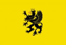 Flaga Kaszub z godłem-pòznaka Kaszëb-czarny gryf w koronie-quiz językowy