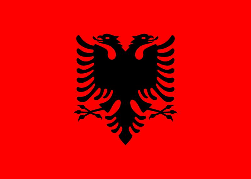 Albania flaga dwugłowy orzeł na czerwonym tle