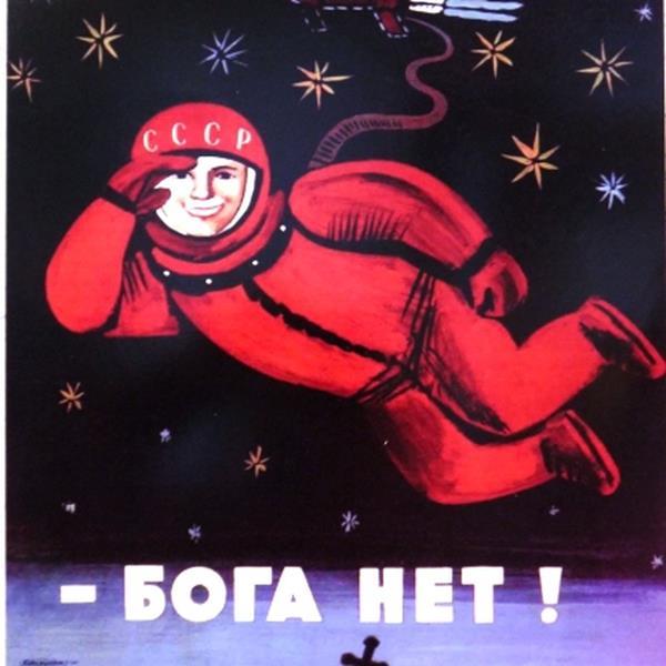 Sowiecki plakat propagandowy-Gagarin w kosmosie
