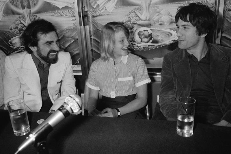 Martin Scorsese,Robert De Niro iJodie Foster na Festiwalu Filmowym w Cannes w 1976 r.