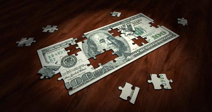 100 dolarów jako puzzle, układanka